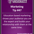 Education based marketing shows your audience you are the expert and builds your relationship with them at the same time.