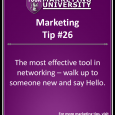 The most effective tool in networking - walk up to someone new and say hello.